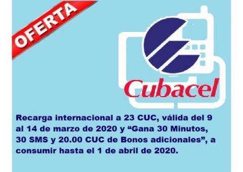 Recarga internacional a 23 CUC