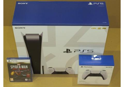 SONY PLAYSTATION 5 DISC VERSION BUNDLE W/ EXTRA CONTROLLER & SPIDERMAN GAME